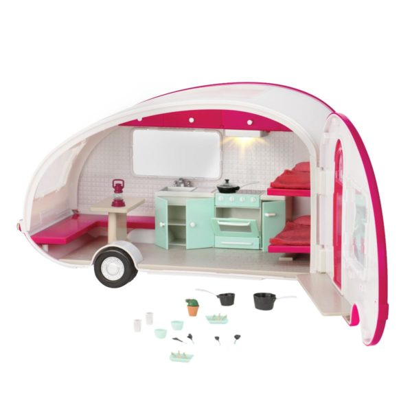Roller Glamper RV Trailer|Miniature Dollhouse Accessory|Lori Doll