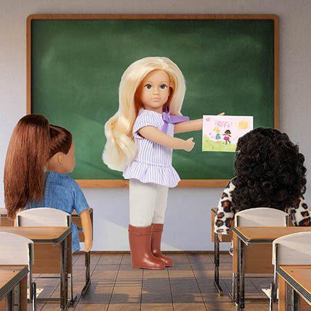 Mini dolls in a classroom.