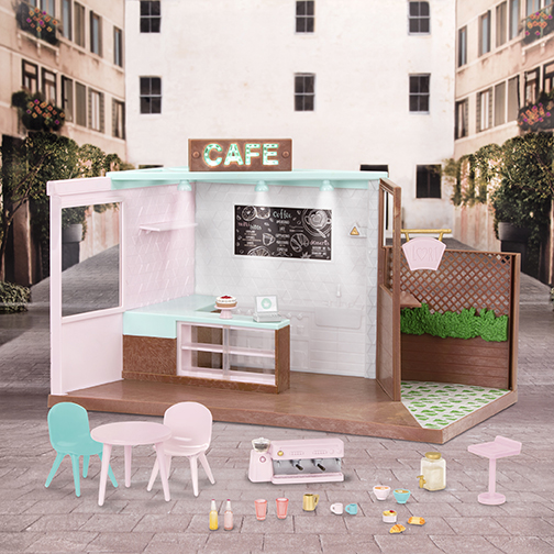 Local Café & Terrace | Café Play Set for 6-inch Dolls | Lori