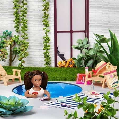Doll in a pool.