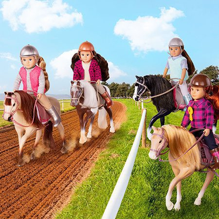 Mini dolls on toy horses.