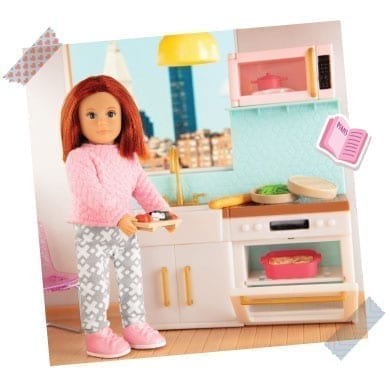 Doll in a kitchen.