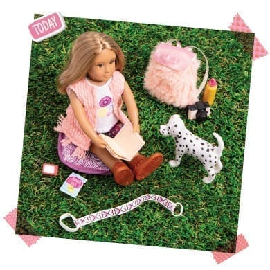 Mini doll with dog.