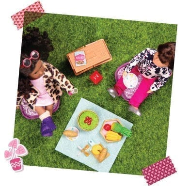 Dolls having a picnic.
