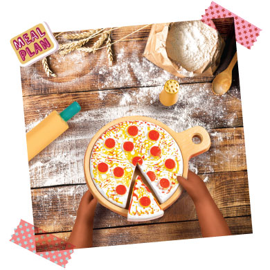 Doll cooking pizza.