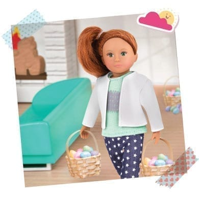 Doll with Easter egg basket.