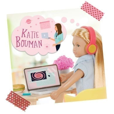 Mini doll with laptop thinking of Katie Bouman.