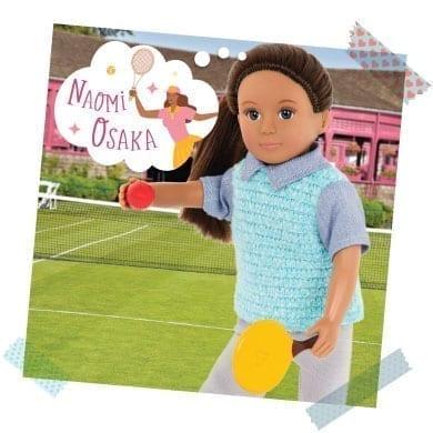 Mini doll playing tennis and thinking about Naomi Osaka.