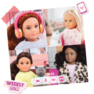 Mini dolls on a video conference.