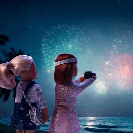 Dolls watching fireworks.